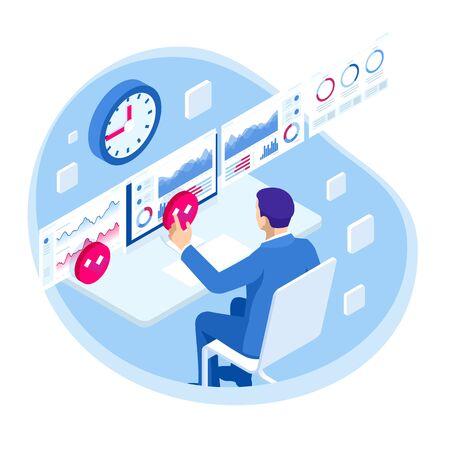 Gestión de procesos de análisis de datos comerciales isométricos o panel de inteligencia en una pantalla virtual que muestra gráficos de estadísticas de datos de operaciones y ventas y el concepto de indicadores clave de rendimiento Ilustración de vector