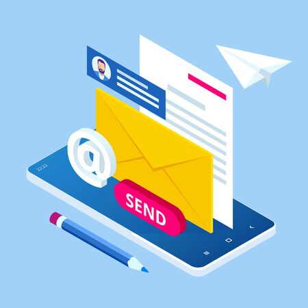 Isometric Email Inbox Electronic Communication. E-mail marketing. Receiving messages. New mail receive. Inbox message. Inbox email Stok Fotoğraf - 132542597