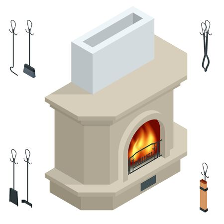 Isometric fireplace of brick, stone isolated on white. Fireplace for the relaxing ambience, and for heating a room. Modern fireplace Illustration
