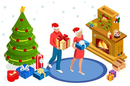 Isometric interior Christmas. Glowing Christmas tree, fireplace and gifts. Happy family by fireplace on Christmas Eve Ilustração
