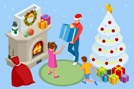 Isometric interior Christmas. Glowing Christmas tree, fireplace and gifts. Happy family by fireplace on Christmas Eve Vettoriali