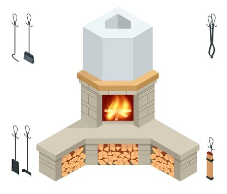 Isometric fireplace of brick, stone isolated on white. Illustration