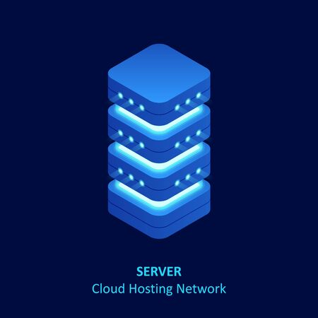 Isometric cloud server isolated on blue . Data center storage room objects. Network server room.
