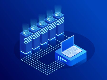 Big data storage and cloud computing technology, machine learning, artificial intelligence concept. Data center room with abstract data servers and glowing led indicators