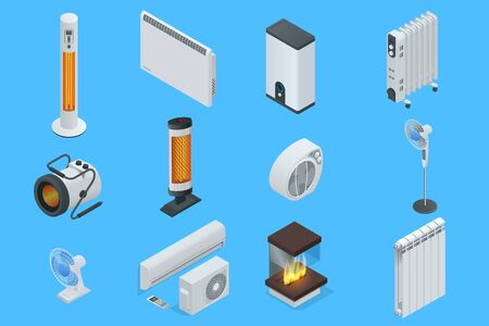 Isometric Home Climate Control Icons. Home climate equipment set fireplace, oil heater with screen controls. Can be used for advertisement, infographics, game or mobile apps icon. Illustration