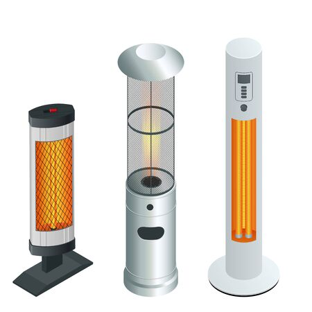 Electric Modern Long-Wave Infrared Patio Heaters and Gas Patio Heater. Isometric Best Patio Heaters for Your Garden, Bars, and Restaurants.