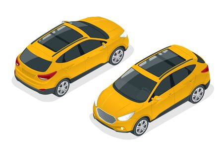 Isometric Car Yellow Hatchback 4-door Icons. Car template on white background. Hatchback isolated.