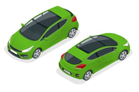 Isometric Car Green Hatchback 3-door Icon. Car template on white background. Hatchback isolated. Ilustracja