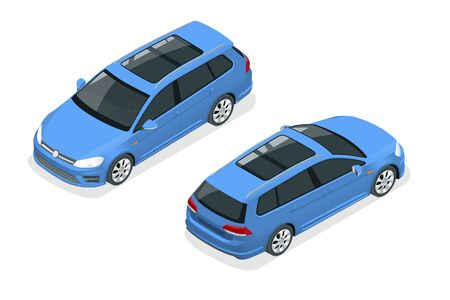 Isometric Car Blue Hatchback 5-door Icon. Car template on white background. Hatchback isolated.