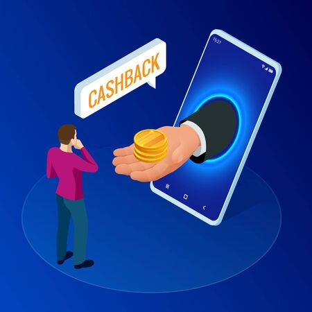 Isometric Cashback and Saving Money Concept. Money Refund. Digital Payment or Online Cashback Service. Electronic invoice.