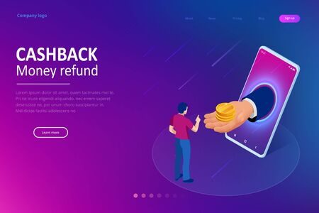 Isometric Cashback and Saving Money Concept. Money Refund. Digital Payment or Online Cashback Service. Electronic invoice. Reklamní fotografie - 133814364