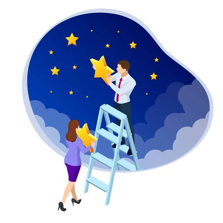 Isometric Reaching the Stars. Reach your dream, aspirations, and solutions. Businessman and Businesswoman steps onto the ladder pointing to the star. Business concept illustration Reklamní fotografie - 133814371