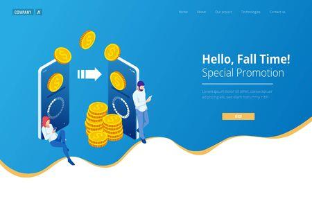 Izometryczny Cashback i koncepcja oszczędzania pieniędzy. Zwrot pieniędzy. Płatność cyfrowa lub usługa zwrotu gotówki online. Faktura elektroniczna.