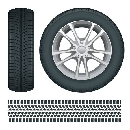Car wheels and tires in a row. Car tires and track traces vector isolated icons