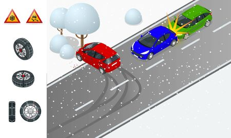 Winter Driving and road safety. The car rides on a slippery road. Urban transport. Can be used for advertisement, infographics, game or mobile apps icon. Car with snow chains
