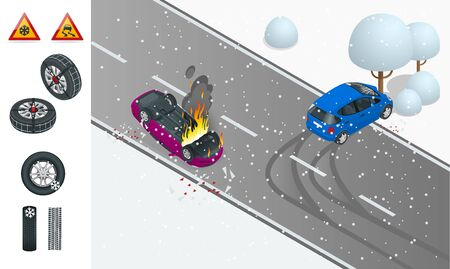 Isometric winter slippery road, car accident. The car rides on a slippery road. The car crashed into a tree, the car turned over and caught fire. Urban transport. Car with snow chains