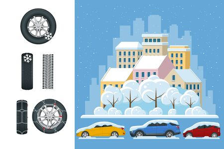 Slippery, ice, winter, snow road and cars. Caution Snow. Winter Driving and road safety. Urban transport. Car with snow chains