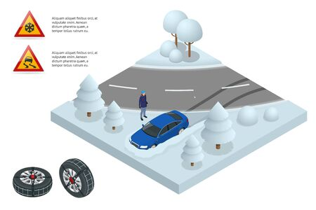 Isometric drift car on a snowy road concept. Heavy snow on the road driving on it becomes dangerous isometric illustration. Car with snow chains