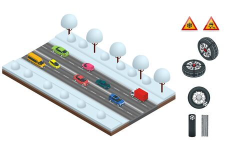 Isometric slippery, ice, winter, snow road and cars. Caution Snow. Winter Driving and road safety. Urban transport. Car with snow chains