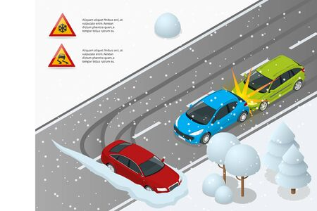 Isometric Winter Driving and road safety. The car rides on a slippery road. Urban transport. Can be used for advertisement, infographics, game or mobile apps icon.