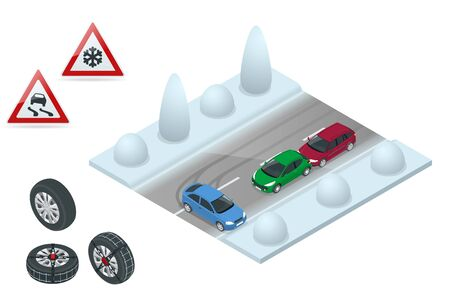 Winter Driving and road safety. The car rides on a slippery road. Urban transport. Can be used for advertisement, infographics, game or mobile apps icon.