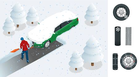 Man with shovel cleaning snow filled backyard outside his car. City after blizzard. Car covered with snow. Isometric vector illustration Çizim