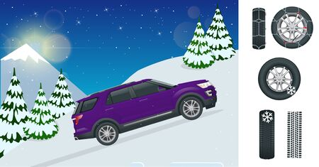 Slippery, ice, winter, snow road and cars. Caution Snow. Winter Driving and road safety. Urban transport. Chains snow for the wheels car on white background.