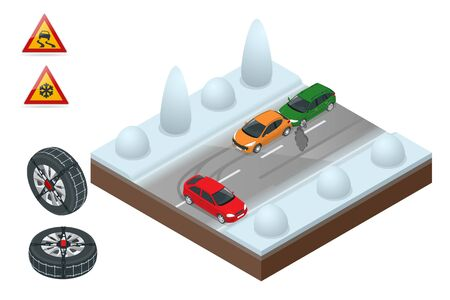 Winter Driving and road safety. The car rides on a slippery road. Urban transport. Chains snow on the wheel Can be used for advertisement, infographics, game or mobile apps icon.