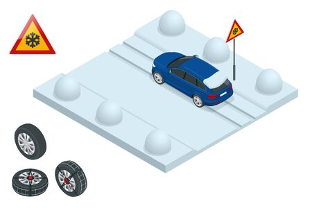 Isometric slippery, ice, winter, snow road and cars. Caution Snow. Winter Driving and road safety. Urban transport. Chains snow on the wheel Illustration