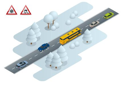Isometric slippery, ice, winter, snow road and cars. Caution Snow. Winter Driving and road safety. Urban transport. Chains snow on the wheel Çizim