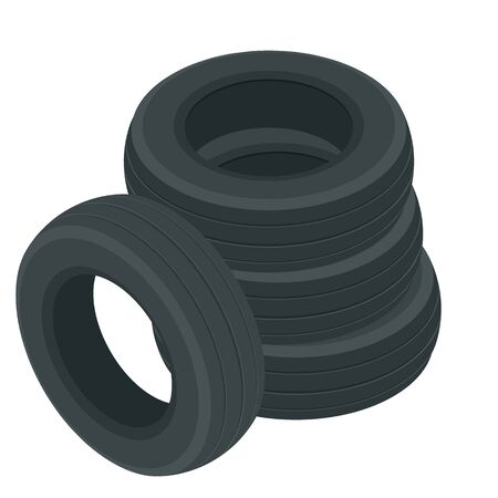 Isometric Car tires icon. Complete set of car wheels, new tires, realistic composition