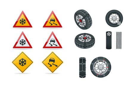 Snow chains on tire. Slippery road. Traffic signs and Tire With Mounted Snow Chains isolated on white background. Caution Snow. Winter Driving and road safety.
