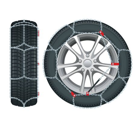 Snow chains on tire. Tire With Mounted Snow Chains isolated on white background. Caution Snow. Winter Driving and road safety.
