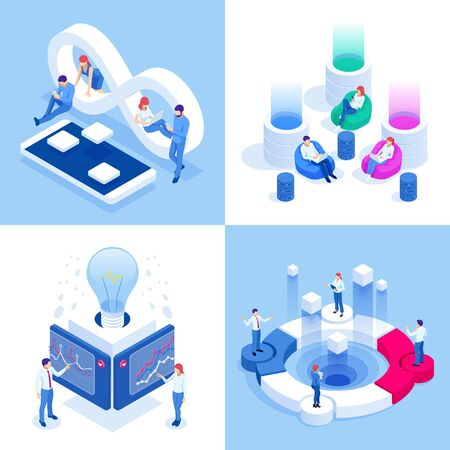Isometric business concepts. Businessmen and business woman in different situations. Online cooperation, agreement, success, goal achievement, financing of projects, online consultation, partnership. Stok Fotoğraf - 133814611