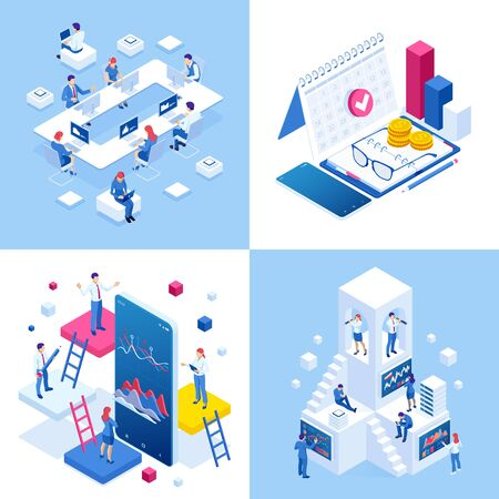 Isometric business concepts. Businessmen and business woman in different situations.