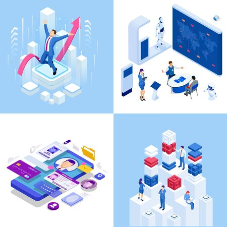 Isometric business concepts. Businessmen and business woman in different situations. Online cooperation