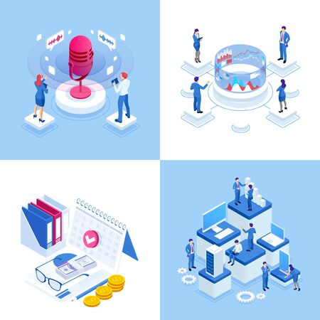 Isometric business concepts. Businessmen and business woman in different situations. Online cooperation, agreement, success, goal achievement, financing of projects, online consultation, partnership.
