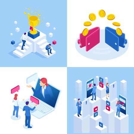 Isometric business concepts. Businessmen and business woman in different situations.Online cooperation, agreement, success, goal achievement, financing of projects, online consultation, partnership.
