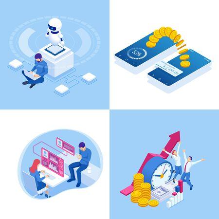 Concepts commerciaux isométriques. Hommes d'affaires et femme d'affaires dans différentes situations. Coopération en ligne, accord, succès, réalisation des objectifs, financement de projets, consultation en ligne, partenariat.
