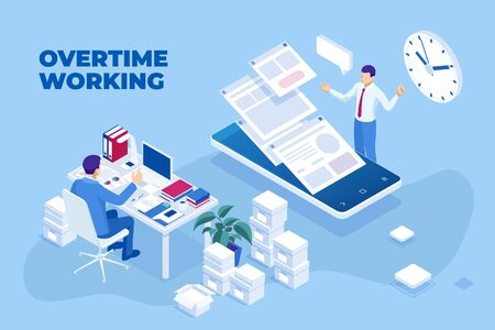 Isometric overtime working concept. Planning time business management.
