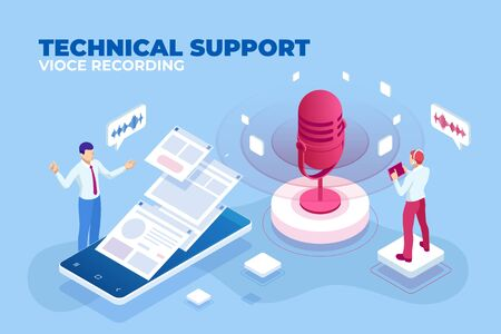 Isometric technical support voice recording and digital sound wave concept