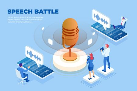 Isometric speech battle and digital sound wave concept. Ilustracja