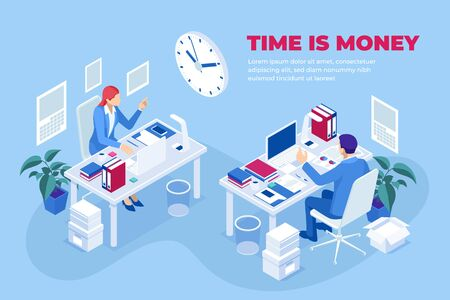 Isometric time is money concept. Time management planning.Deadline. Ilustracja