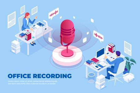 Isometric office recording and digital sound wave concept. Ilustracja