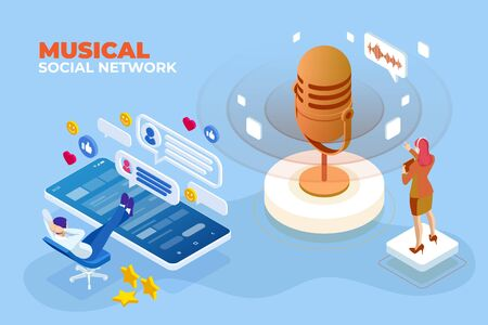 Isometric Musical social network and digital sound wave concept.