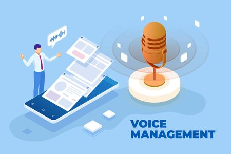 Isometric voice management and digital sound wave concept. Ilustracja
