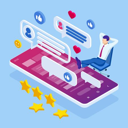 Isometric businessman or social media consultant Ilustracja