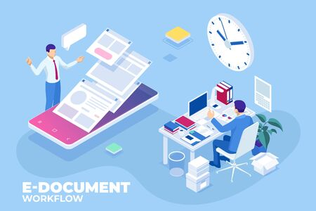 Isometric concept of business e-documents, business report, business documents, working, management. Ilustracja