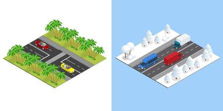 Isometric Roads with cars in summer, and road in winter.