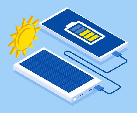Charging smartphone phone from the solar battery. Ilustracja